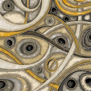 Abstrakte Kunst - Labyrinth in beige und braun von Patricia Piotrak