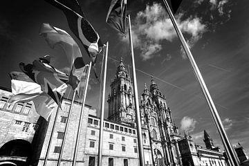 Kathedrale von Santiago de Compostela, Spanien (schwarz/weiß) von Rob Blok