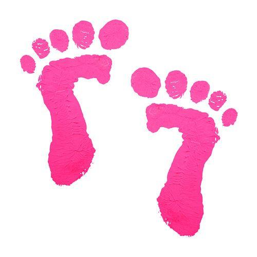 Roze babyvoetjes afdruk