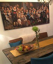 Klantfoto: Schuttersmaaltijd ter viering van de Vrede van Munster, Bartholomeus van der Helst, op print op doek