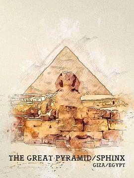 De Grote Piramide van Gizeh en de Sfinx van Printed Artings