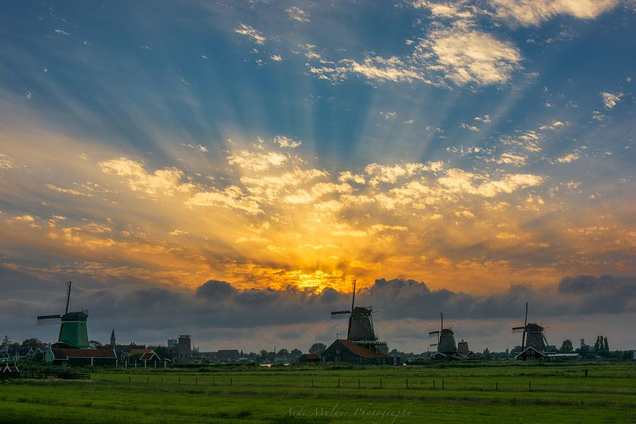 Prachtige zonnestralen (Jacobsladder) bij windmolenpark Zaanse Schans van Ardi Mulder
