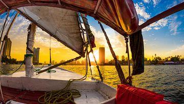 Felucca reis op de Nijl, Caïro, Egypte, Felucca reis op de Nijl van Günter Albers