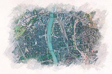 Maastricht von oben im Aquarellstil von Aquarel Creative Design
