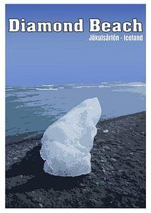 Vintage-Poster, Diamond Beach, Jökulsárlón, Island