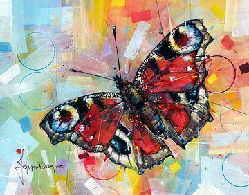 Dagpauwoog vlinder schilderij van Jos Hoppenbrouwers