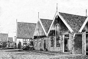 Dorpsgezicht van Oosterend op Texel van eric van der eijk