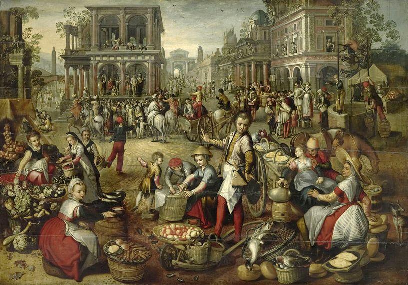 Marktplatz, mit dem Auspeitschen im Hintergrund, Ecce Homo und dem Tragen des Kreuzes, Joachim Bücke von Marieke de Koning