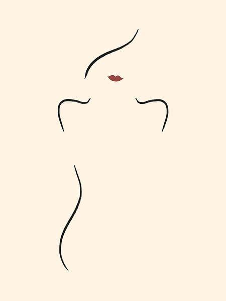 Frau mit roten Lippen von MDRN HOME