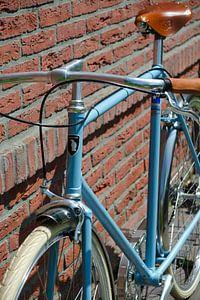 Hippe lichtblauwe singlespeed fiets