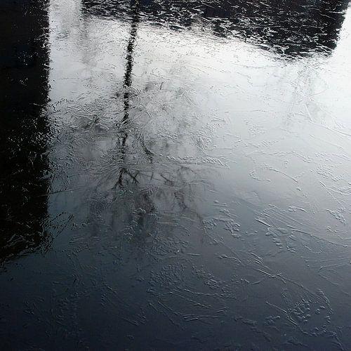 Stadse boom reflectie in bevroren water van