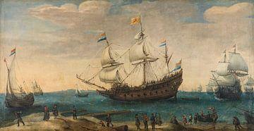 Een aantal Oost-Indiëvaarders voor de kust, Hendrik Cornelisz. Vroom sur