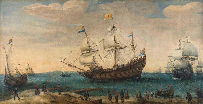 Een aantal Oost-Indiëvaarders voor de kust, Hendrik Cornelisz. Vroom van Schilders Gilde