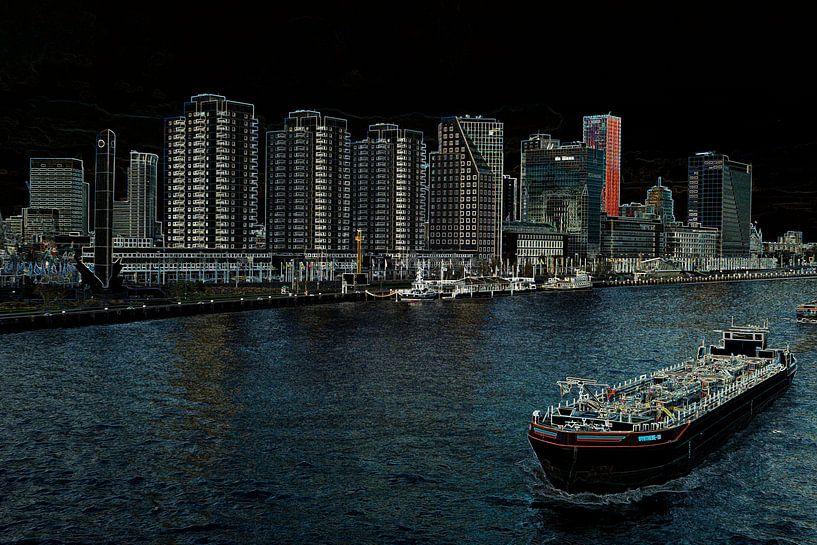 Stadsgezicht op de Boompjes in Rotterdam van Leo Luijten