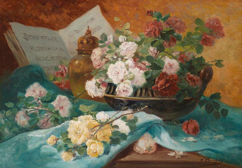 Stilleben mit Rosen in einer Schale, Eugène Henri Cauchois von Meesterlijcke Meesters