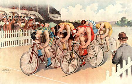 Radfahrer radeln über das Ziel, ab 1895