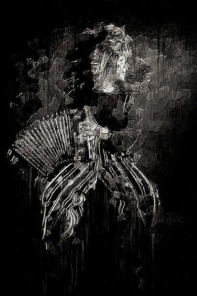 Meisje met accordeon van Luc V.be