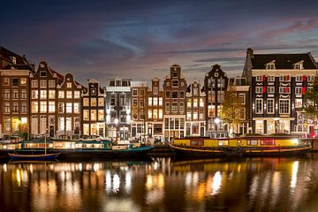 Avond aan de Singel in Amsterdam van Peter Bartelings Photography
