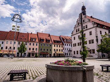 Uitzicht op de markt in Dippoldiswalde Osterzgebirge Saksen van Animaflora PicsStock