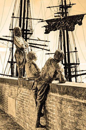Hoorn Noord-Holland Nederland Jongens van Kapitein Bontekoe Sepia