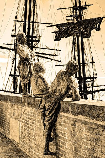 Hoorn Noord-Holland Nederland Jongens van Kapitein Bontekoe Sepia van Hendrik-Jan Kornelis