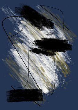 Abstract schilderij met inkt en verfstrepen 3 van Romee Heuitink