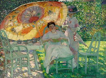 Le parasol de jardin, Frederick Carl Frieseke sur