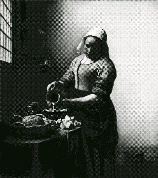 Milchmädchen Johannes Vermeer - in zweifarbigen Punkten - schwarz und weiß von Maria Mina Arts