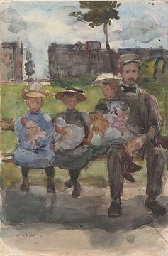 Mann mit drei Mädchen auf einer Bank im Oosterpark in Amsterdam, Isaac Israels, um 1886 - um 1904