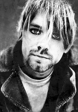 Olieverf portret van Kurt Cobain (zwart wit) van Bert Hooijer