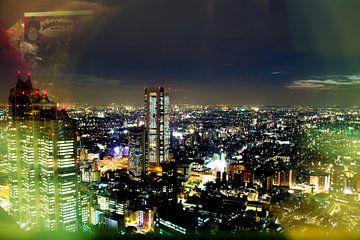 Tokyo Skyline van Shinjuku van Marieke de Lange