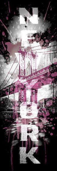 POP ART Manhattan Bridge | roze | panoramisch verticale  van Melanie Viola