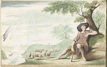 Hirte, der bei seiner Herde Gesina ter Borch, 1654, unter einem Baum ruht.