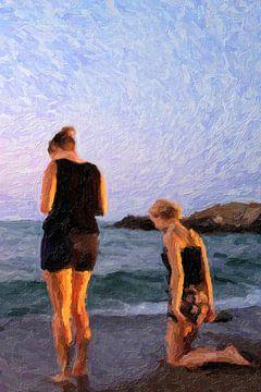 Meisjes aan het strand van