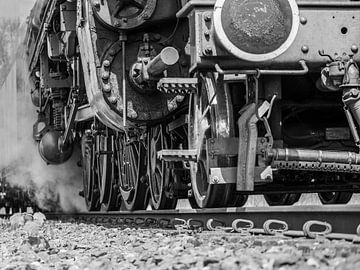 stoom locomotief detail in zwartwit