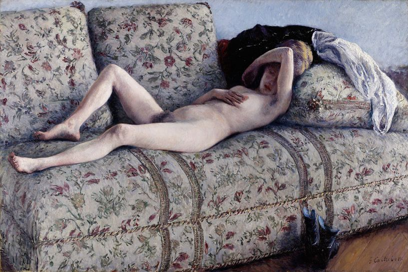 Nude on a Couch, Gustave Caillebotte von Meesterlijcke Meesters