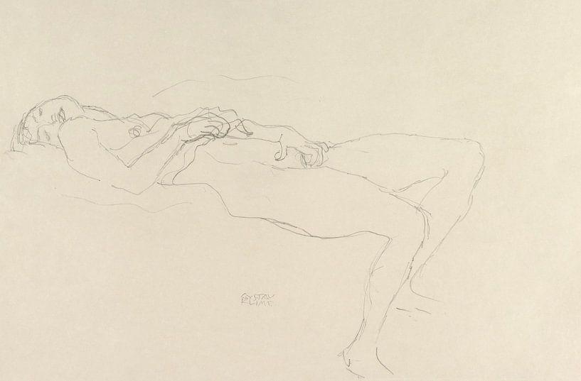 Liegender Akt, Gustav Klimt von Meesterlijcke Meesters