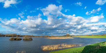 Mooie wolkenlucht boven onder gelopen uiterwaard von Fokko Erhart