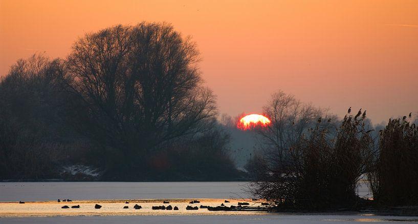 zonsondergang IJsselvallei van Lex Scholten