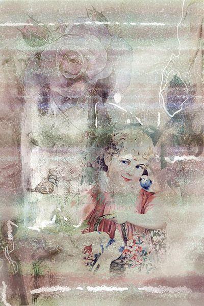 Mädchen mit Korb und Vögeln, vintage von Rietje Bulthuis