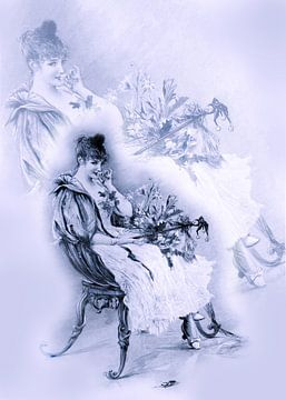 Antieke prent met dame in lila van Ina Hölzel