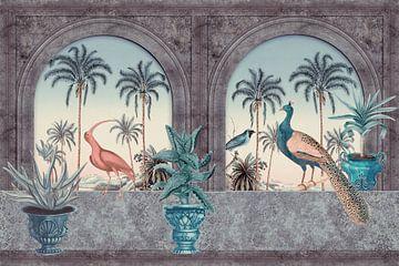 Tropischer Morgen mit Pfau und Reiher von Andrea Haase