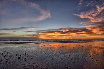 Zonsopgang op het strand van Miami. van Tilly Meijer