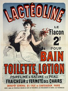 Topless Zeemeermin in badzout reclame 1884 van Atelier Liesjes