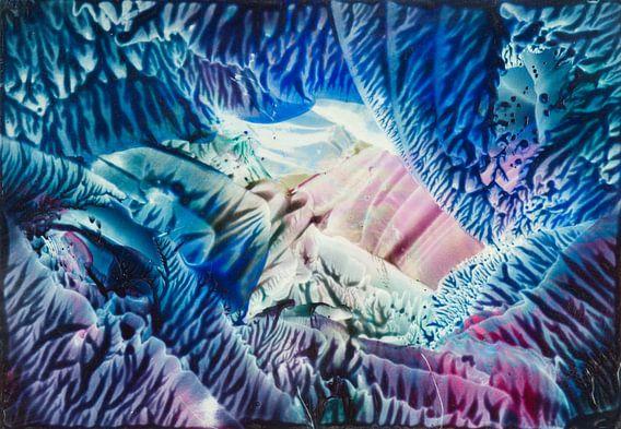 Encaustic Art blauw zeegroen roze wit lila