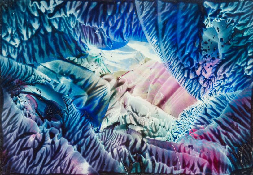 Encaustic Art blauw zeegroen roze wit lila van Erica de Winter