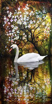witte zwaan in de zee van bloemen van Christine Nöhmeier