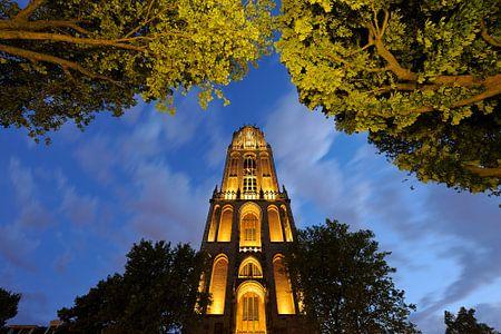 Dom Tower in Utrecht vom Domplein aus gesehen von Donker Utrecht