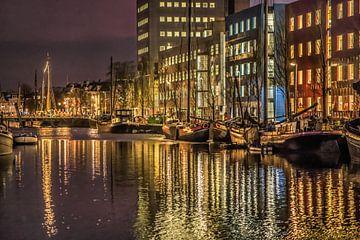 Die Willemskade in Leeuwarden im Abendlicht von Harrie Muis