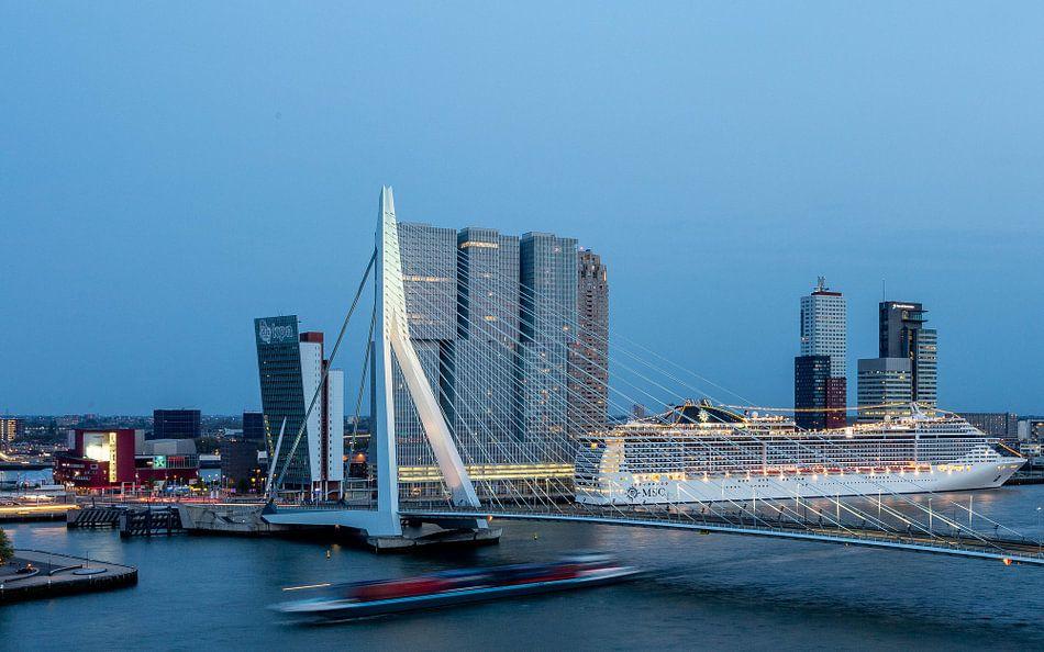 Rotterdam Erasmusbrug Cruiseship van Leon van der Velden